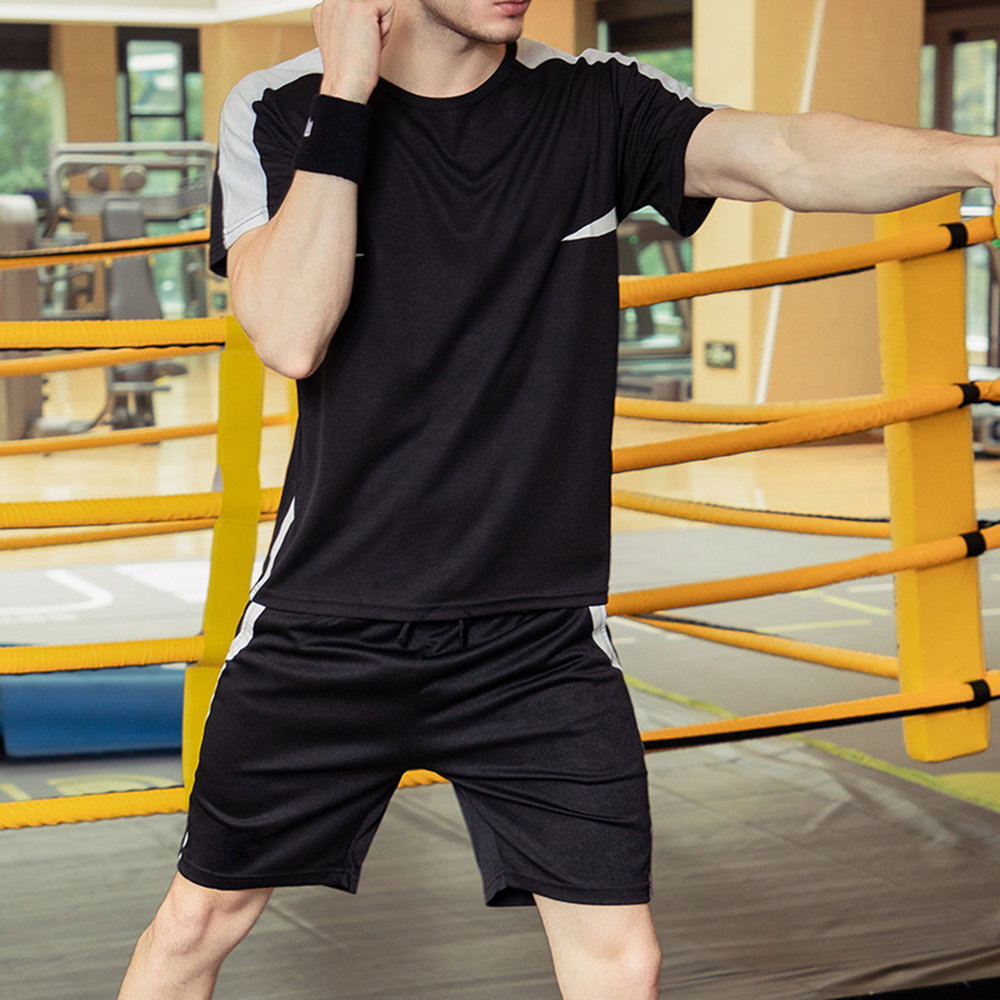 PUIMENTIUA Casual Men Sets Summer Solid Sports Suit Two Piece T Shirts+Shorts Men Sportswear Jogger Slim Fit Tracksuit Quick Dry