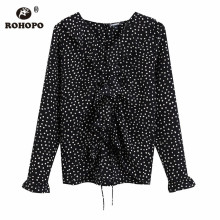ROHOPO Polk Dot Front Ruffled Butterfly Long Sleeve Black Blouse Butterfly Collar Ladies Chic Autumn Top Printed Shirt #9582 chic black polo collar long sleeve blouse for women