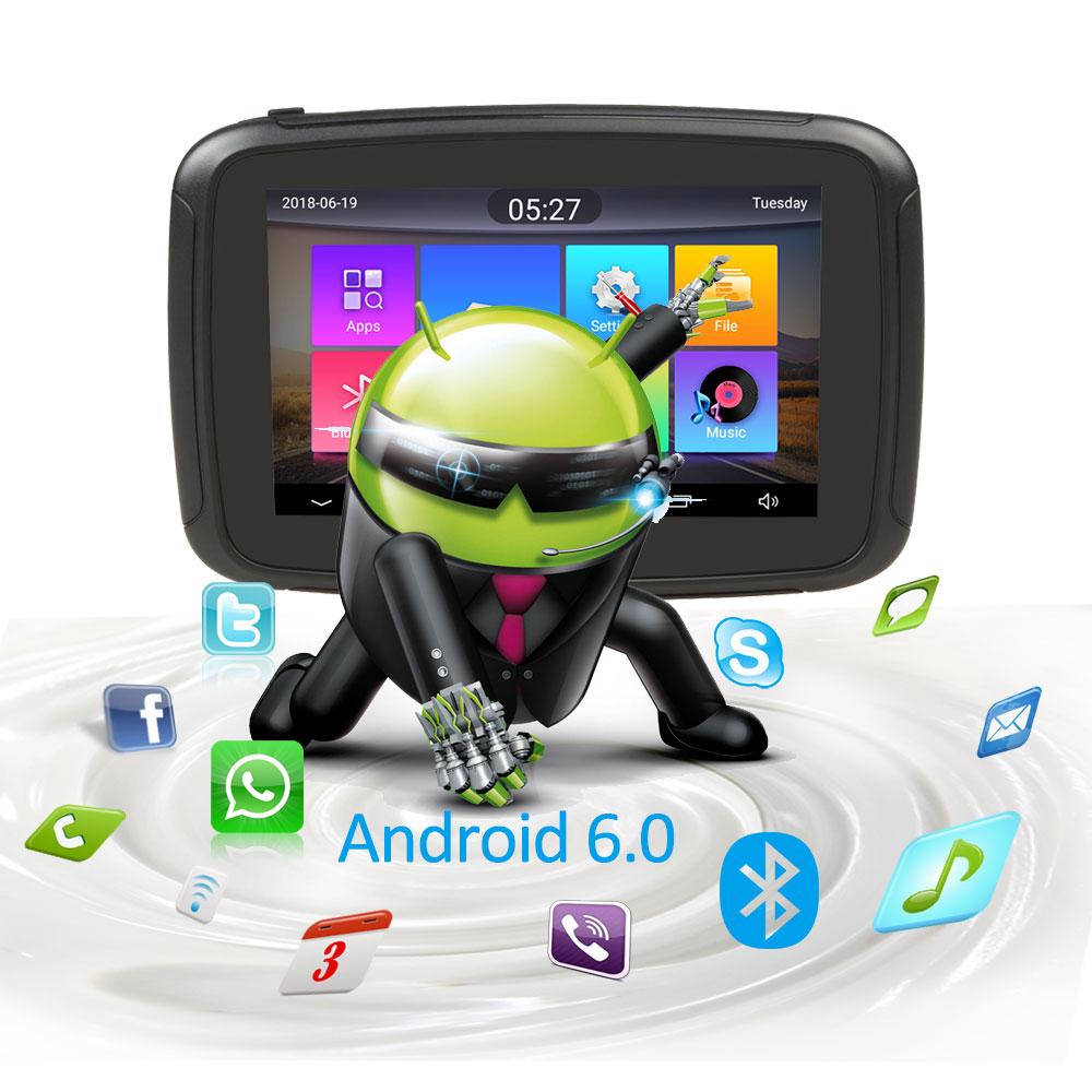 Android 6.0 Fodsports 5 Zoll Motorrad GPS Navigation IPX7 Wasserdichte Bluetooth Auto Moto GPS Navigator 1 gramm + 16G Flash freies Karte