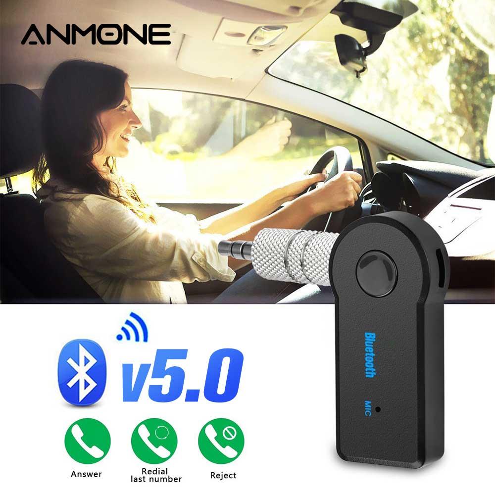 ANMONE Bluetooth Adapter 3.5mm Wireless Car Bluetooth Receiver Aux Port Bluetooth Audio Music Speaker Adapter USB 5.0 Converter