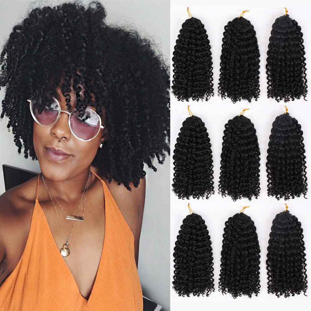 MODERN QUEEN Ombre Hair Extensions Synthetic Marly Bob Jerry Curl Jamaican Bounce Crochet Hair Afro Kinky Curly Crochet Braids