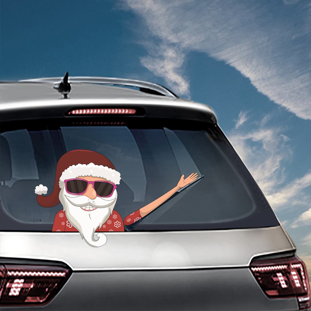 Car Stickers Christmas Decoration Santa Claus 3D PVC Waving Car Stickers Styling Window Wiper Decals Rear Windshield Decoration (8)