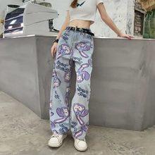 Calças de brim femininas de cintura alta solta calças retas 2020 dos desenhos animados impresso zíper casual feminino calças compridas tamanho grande mãe calças compridas