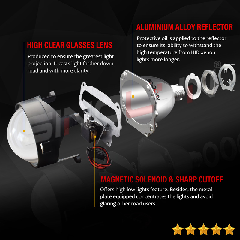 Image 2 - Sinolyn H7 Lens 2.5 Bi xenon Projector Lenses For BMW ZKW/AL M3 E46 Halogen Headlight Accessories Tuning Style Use H1 HID Xenon-in Car Light Accessories from Automobiles & Motorcycles