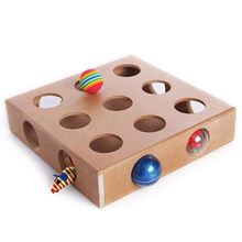 Interactive Cat Toy Puzzle Box, Wooden Peek Play Hide & Seek Mice Feeder Adorable Toys