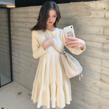 2020 Winter Spring Fashion Korean Causal Dress Women Long Sleeve Elegant Solid Knitted Sweaters Loose Mother Long Dresses E7 1