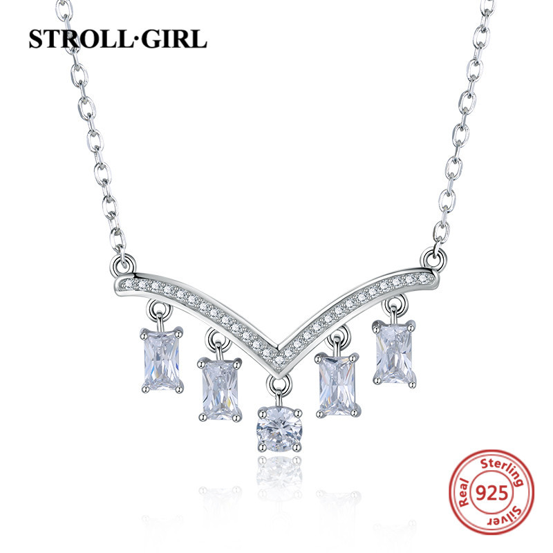 Strollgirl 100 925 sterling silver romantic Clear Cubic Zircon V shape crystal Necklace make for Women Anniversary Jewelry Gift in Pendant Necklaces from Jewelry Accessories