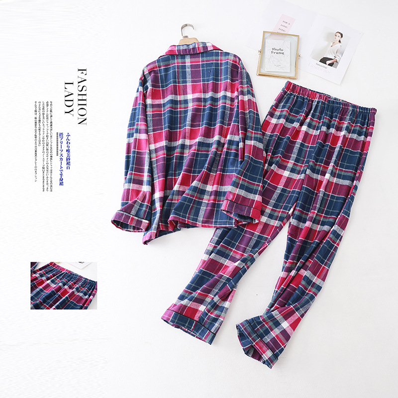 cor tecido xadrez de manga comprida sleepwear