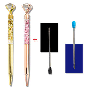 3PCS/Lots 0.7MM Rollerball Pen Metal Crystal Diamond Multicolored Gold Pen Spinning Blue Ballpoint Pen School Office Writing Pen(China)