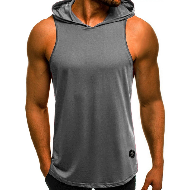 MENS BLACK SLEEVELESS HOODIE GYM BOXING BODYBUILDING HOODED MUSCLE TANK  FASHION