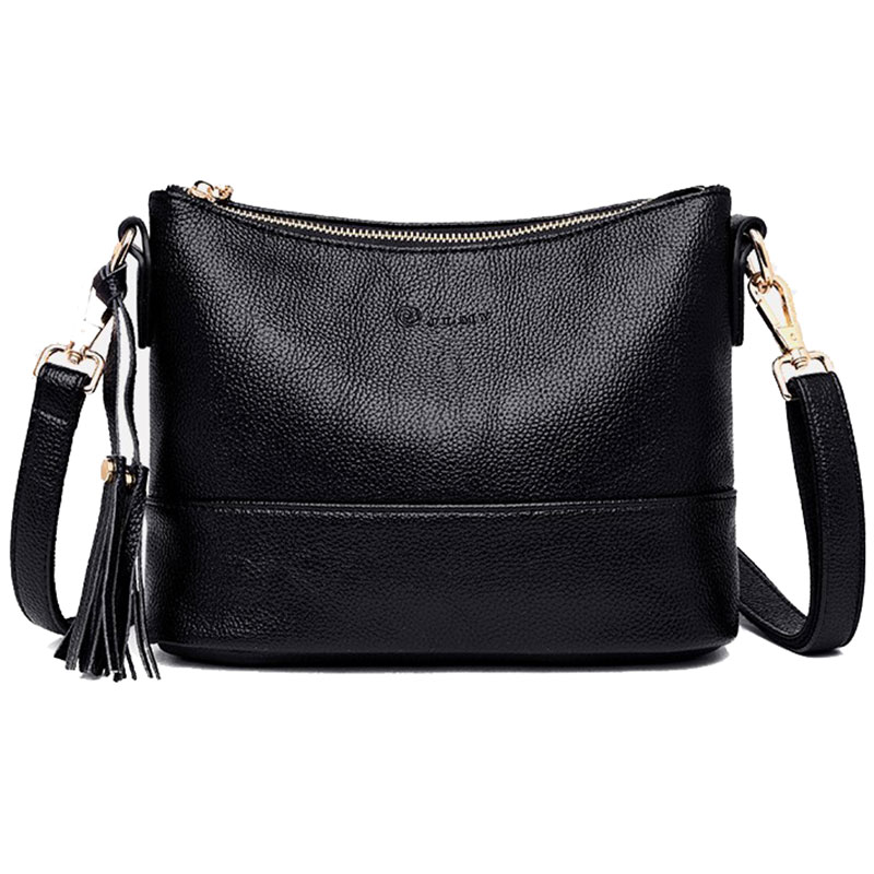 Women Minimalist Shoulder Bags High Quality PU Leather Solid Color Messenger Bag With Tassel Decoration Double Shoulder StrapShoulder Bags   -