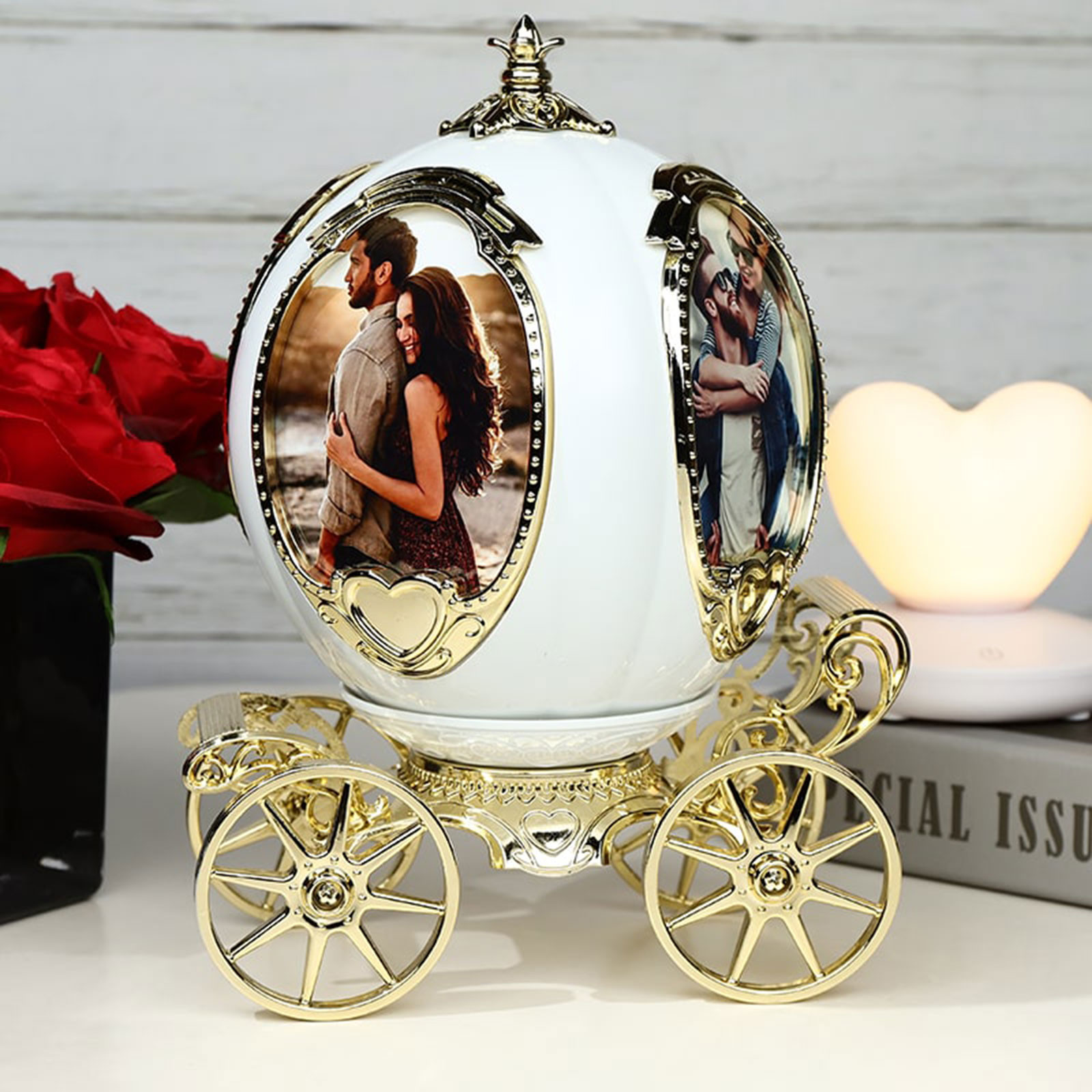 Father's Day Gift Photo Frame Music boxs Personalized Pumpkin Car Photo Frame Music Box Picture Frame Best Retro Photo Frame 4