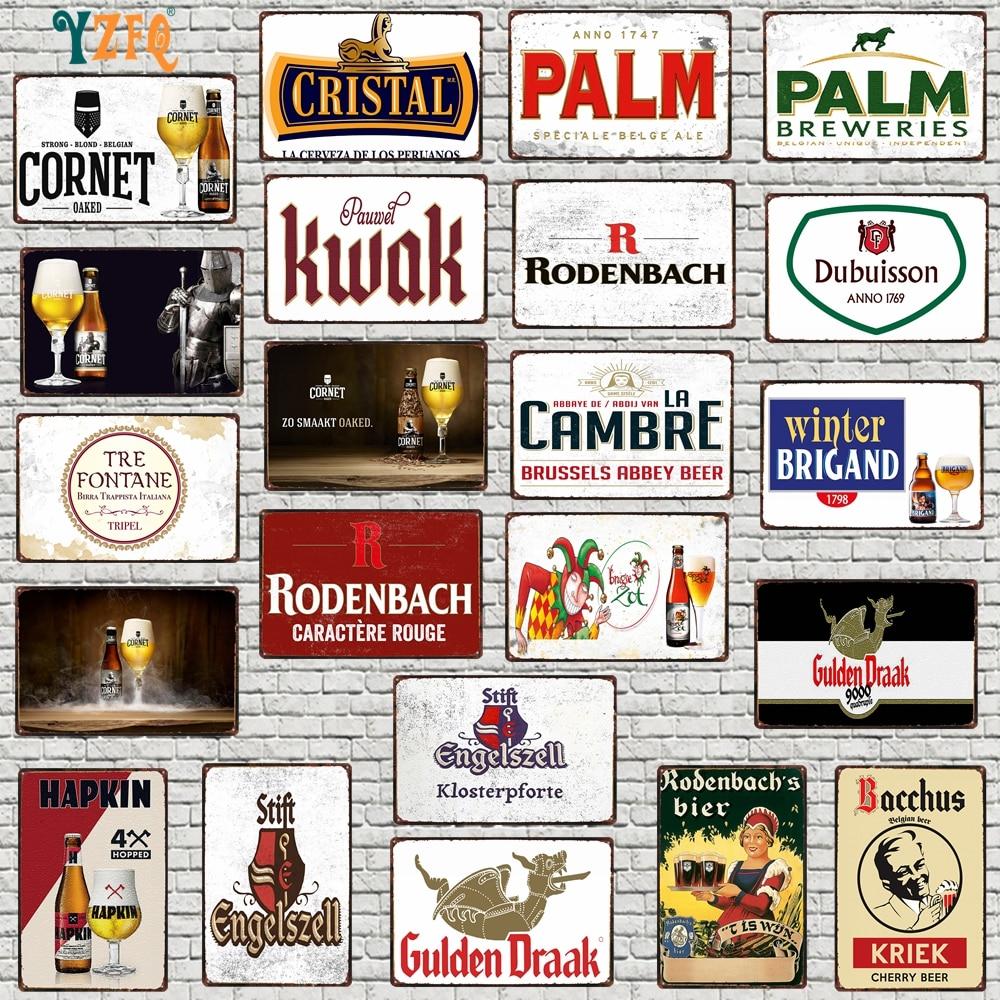 【YZFQ】Belgium значки в стиле ретро бельгийского пива доска Металл Винтаж паб стены, ручной стержень, для кафе, для дома арт Украшения для кухни ...