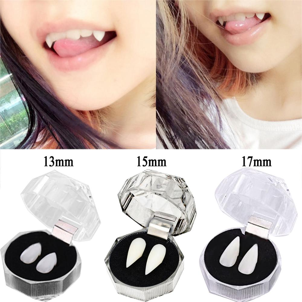 Besegad 2PCS 13/15/17mm Vampire Teeth Zombie Ghost Devil Dentures Fangs Canine Fake Tooth With Case Halloween Cosplay Prop Toy
