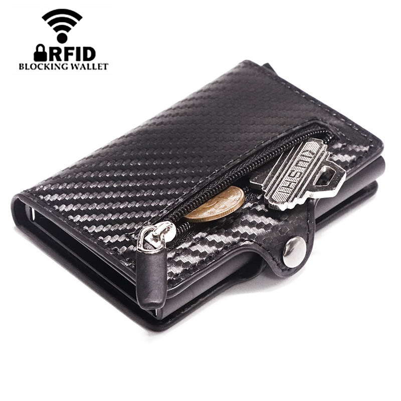 2020 Leather Wallet Pop Up Card Case Magnet Carbon Fiber Coin Purse Aluminum Box Card Wallet RFID Men Wallet Card Holder