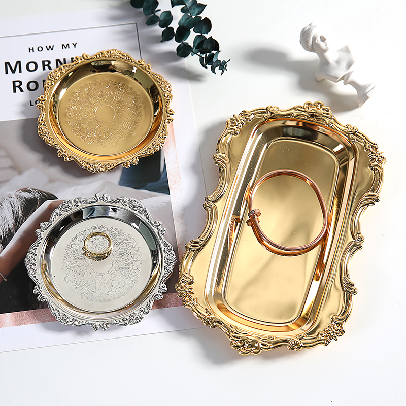 Gold Storage Tea Tray Set Stainless Steel Silver Cake Fruit Plate Jewelry Display Tray Wedding Dessert Plate For Home Decor 1pc