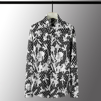 New 100% Cotton Mens Shirts Luxury Skull Digital Printed Long Sleeve Mens Dress Shirts Fashion Slim Fit Male Shirts 4XL