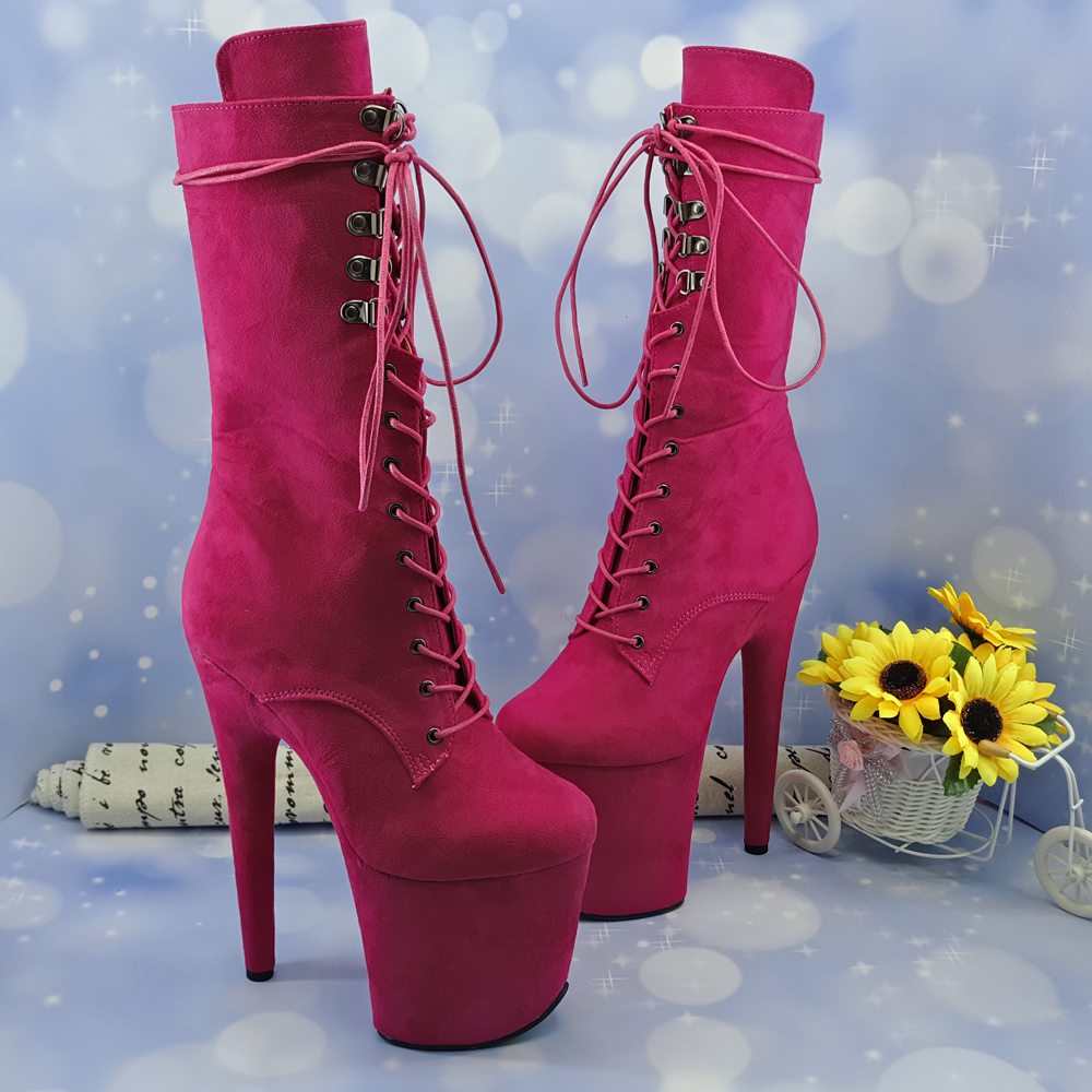 Leecabe Rose RED 20CM Pole dancing shoes High Heel platform Boots closed Pole Dance boot