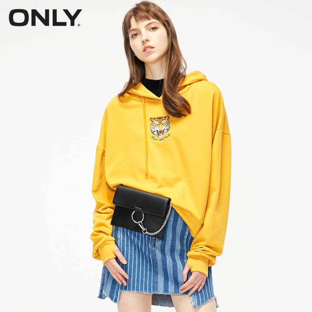 ONLY Autumn Winter Women's Loose Fit Embroidered Tiger Head Drawstring Hoodie | 11919S512