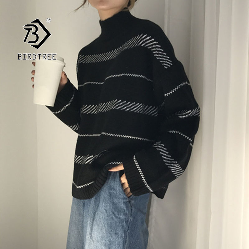 2019 Winter New Women's Pullovers Sweater Striped Turtleneck Knitted Loose Harajuku Korean Casual Vintage Fashion Tops T98303D