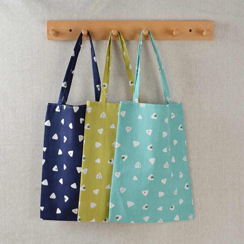 Borsa Shopping riutilizzabile da donna borsa ecologica borsa da spiaggia borsa a tracolla in tela di cotone di lino casual di grande capacità borse Tote con stampa floreale