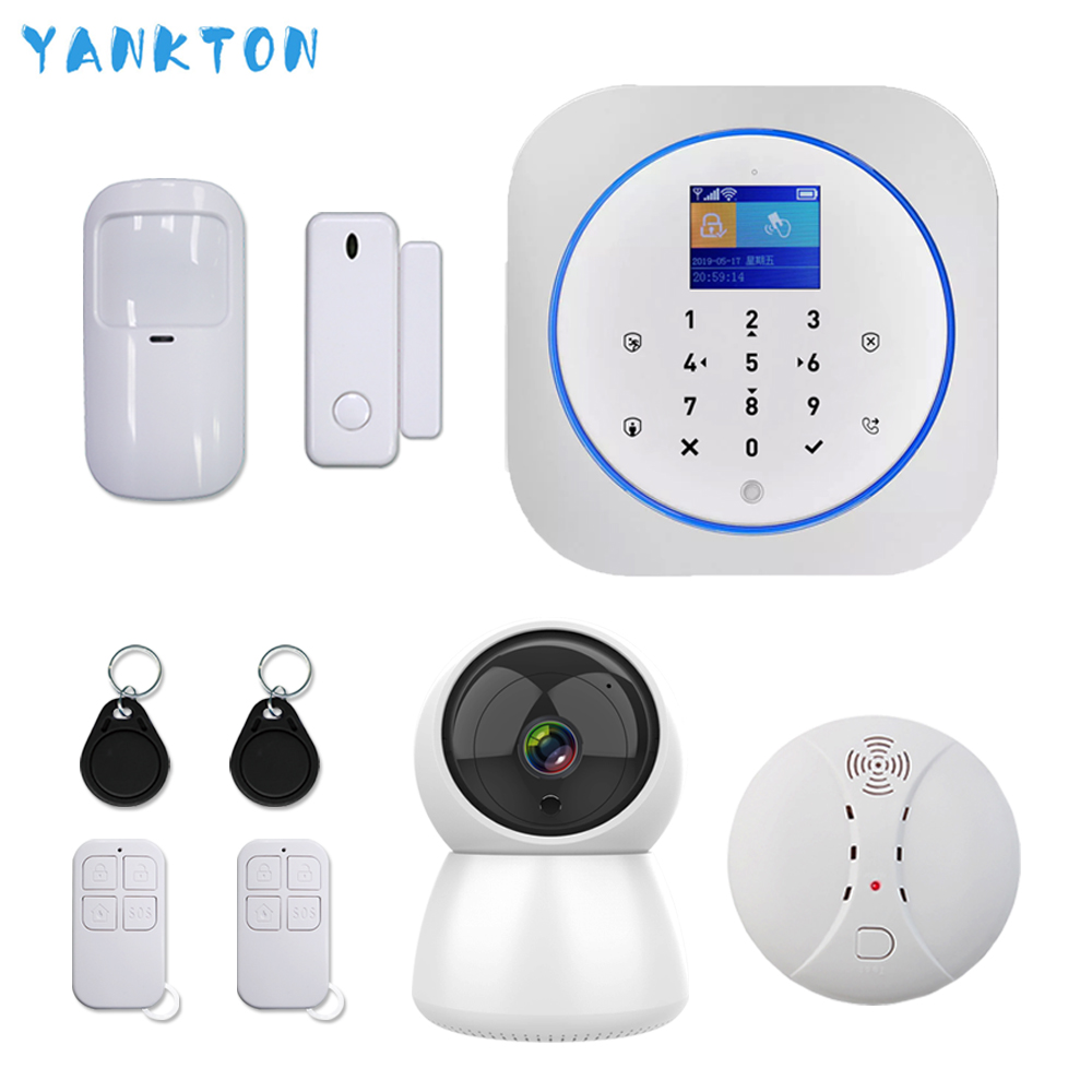 Tuya Smart 433MHz GSM&3G&4G Wireless WIFI Alarm System Burglar&Security Home Alarm System With Smoke Detector And IP Camera