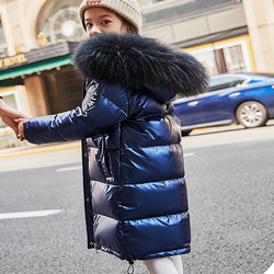 -30 Degrees Girl Boy Down Coat Glossy Jacket Zipper Real Raccoon Fur Collar Soft and Smooth Baby Winter Outwear Children Top