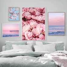 Pink Coast Cherry Blossoms Flower Wall Art Print Canvas Painting  Nordic Posters And Prints Pictures For Living Room