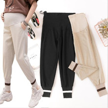Autumn maternity casual trousers woman thread stitching beam mouth sweatpants pregnancy stomach lift pants