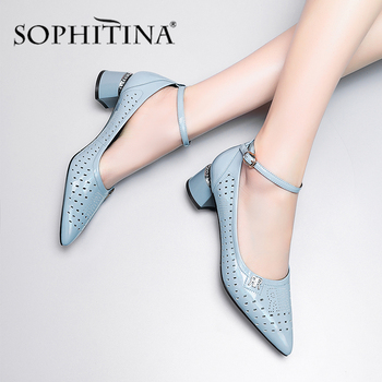 SOPHITINA Summer Women Pumps Fashion Metal Decoration Ankle Buckle Strap Pointed Toe Solid Shoes Square Heel Stylish Pumps SO434