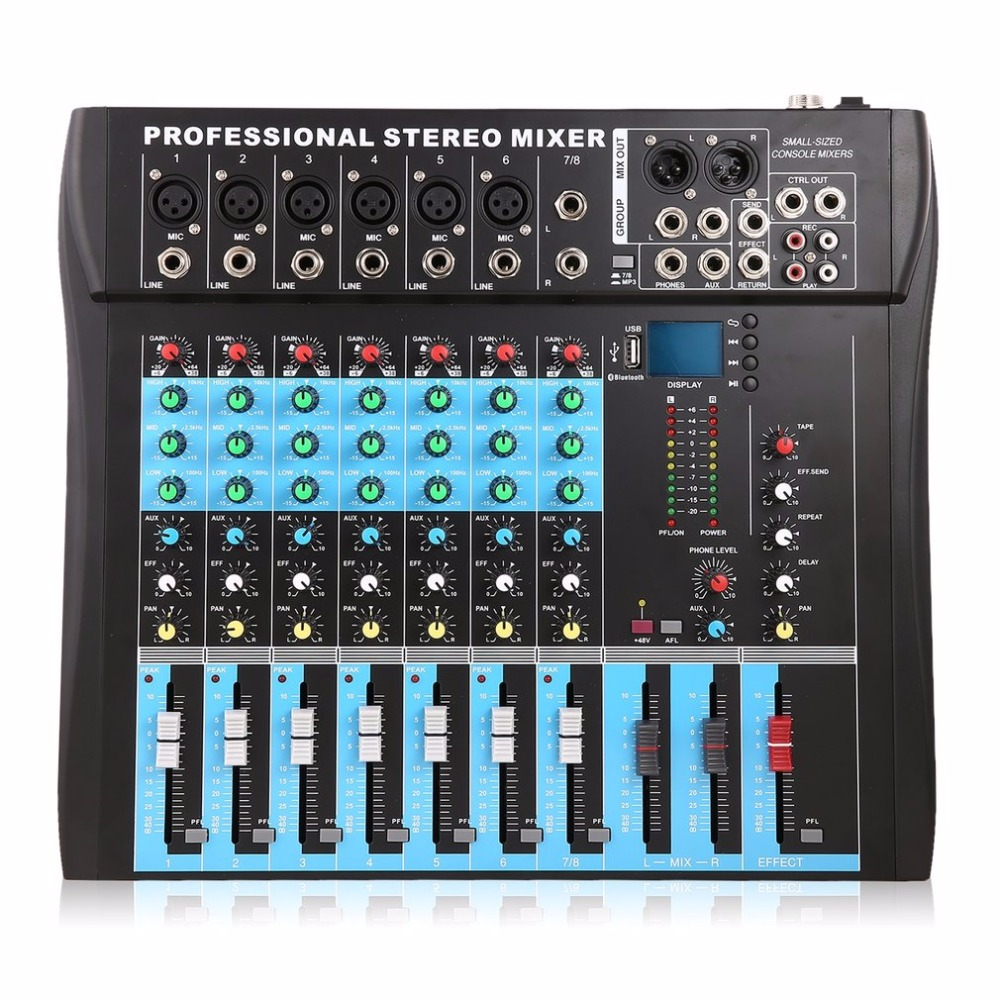 CT8 8 Channel Professional Stereo Mixer Live USB Studio Audio Sound Console Network Anchor Device Vocal Effect Processor - 6