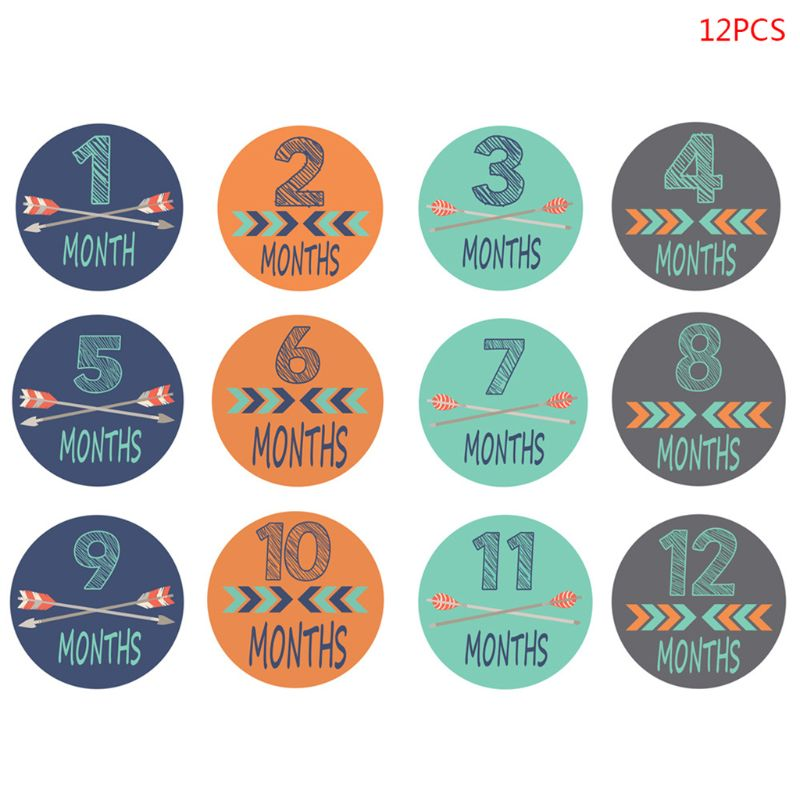 12 Pcs Month Sticker Baby Photography Milestone Memorial Monthly Newborn Kids Commemorative Card Number Photo Props