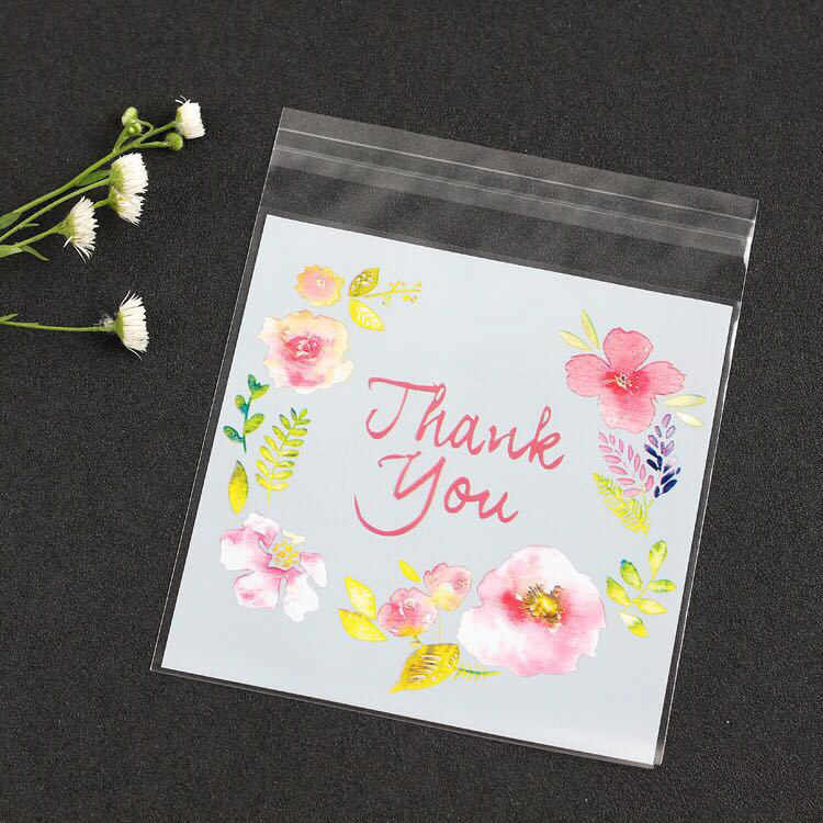 Bộ 100 Túi Nhựa Cảm Ơn Bạn Bánh Kẹo Túi Tự Dán Cho Đám Cưới Sinh Nhật Tặng Túi Đựng Bánh Nướng bao Bì Túi