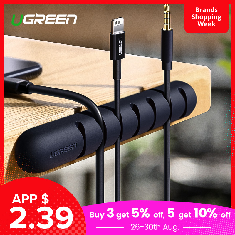 Ugreen Winder Cable-Holder Earphone Management-Clips Mouse Usb-Cable Silicone For Flexible