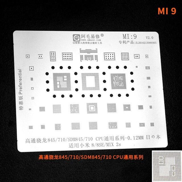 Pochoir Amaoe MI9 BGA pour Xiaomi 8 / 8se / MIX 2s SDM845/710/maille en acier CPU/plaque de pochoir mi9 bga