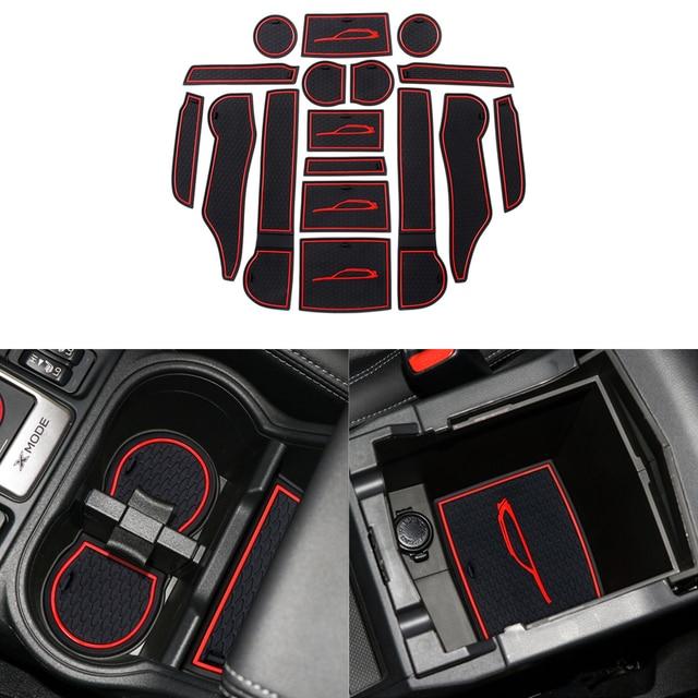 Przednie tylne drzwi gniazdo Pad Mat uchwyty do kubka maty schowek w podłokietniku pudełko na waciki do Subaru Forester 2019 2020 akcesoria do wnętrza samochodu