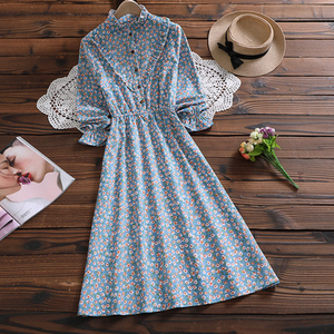 Image 3 - Mori Girl Sweet Dress Korean Fashion Autumn Women Floral Print Long Dresses Female Long Sleeve Dress vestidos de verano 2020