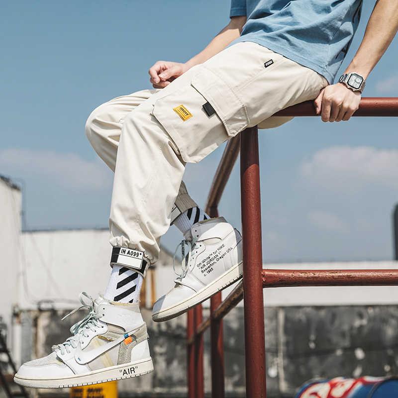 Streetwear Hip Hop Celana Kargo pria Celana Jogging Multi-saku Putih Celana Harajuku Olahraga Kasual Celana Olahraga