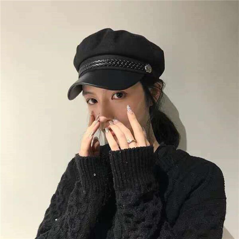 2022 New Fashion PU Leather Military Hat Autumn Sailor For Women Men Belt Berets Flat Top Female Travel Cadet Hat Captain Cap