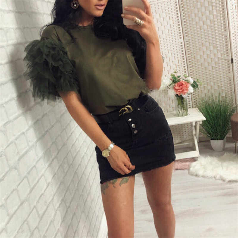 2019 Sexy Women Short Sleeve Mesh Tulle Ruffle T Shirt Ladies Boho Summer Casual Tops Tee Shirt Holiday Haut Femme Solid Clothes