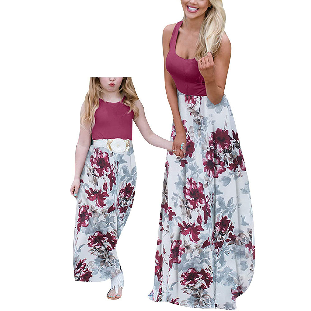 Mother Daughter Dress Family Matching Outfits Off Shoulder Floral Maxi Dress Mom Daughter Summer Floral Spaghetti Strap Dress