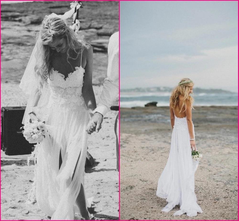 Beach Wedding Dresses Spaghetti Straps Appliques Low Back Lace Wedding Dress Summer Bohemian Wedding Gowns Front Short Back Long Wedding Dresses Aliexpress