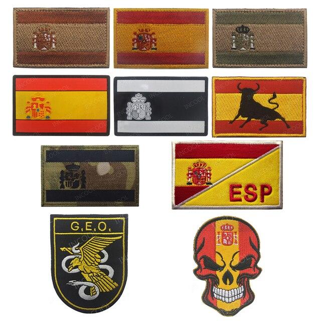 רקמת תיקון ספרד דגל צבא צבאי טקטי תיקוני סמל אפליקציות ספרדית דגלי גומי PVC תגים רקומים