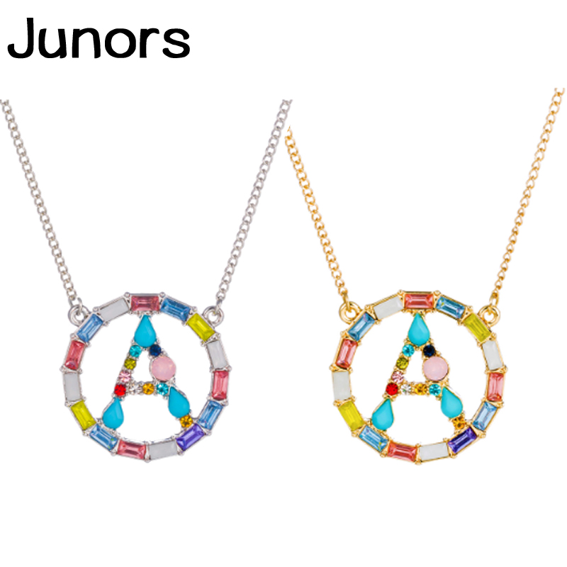 Buy Colors Zircon Letter Necklace women silver chain gold custom Name Initials Necklace For Women Alphabet pendant fashion jewelry for only 2.49 USD
