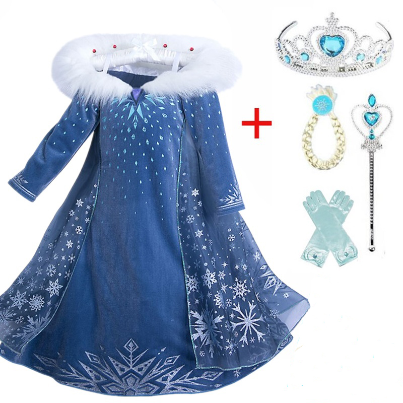 2-Girls Dress Robe Snow-Costumes Carnaval Cosplay Infantil Kids Princess for Disfraz