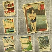 Японский старый стиль ВИНТАЖНЫЙ ПЛАКАТ подходит для кафе Японский дом для украшения и коллекции крафт-бумаги