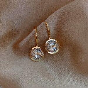 2020 Новое поступление модные круглые простые висячие серьги с кристаллами для женщин модные милые Подвески в виде капли воды ювелирные изде...
