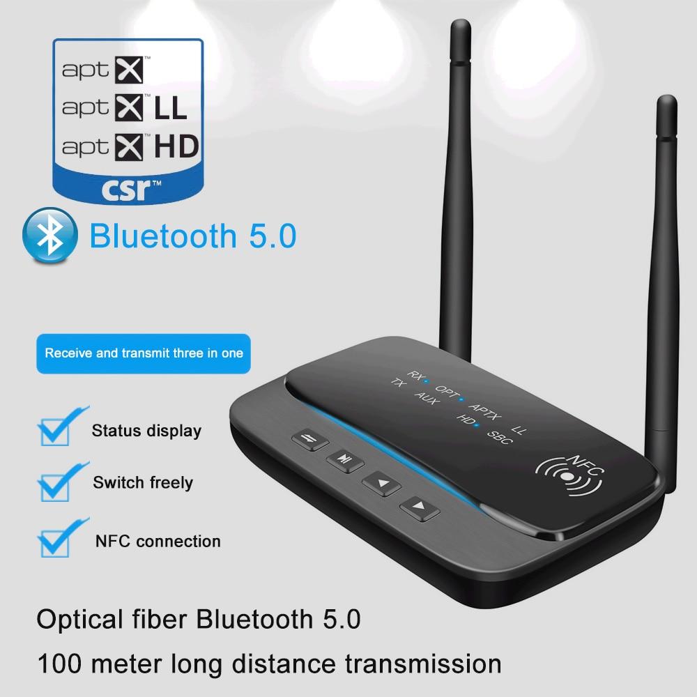 80m de Audio Bluetooth 5,0 transmisor receptor NFC Bypass aptX le HD inalámbrico adaptador SPDIF AUX 3,5mm para PC TV par 2