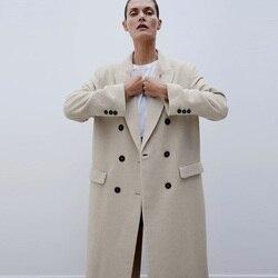 Outono inverno das mulheres za casaco de lã turn down collar duplo breasted longo casaco de lã camel feminino casaco quente casaco feminino