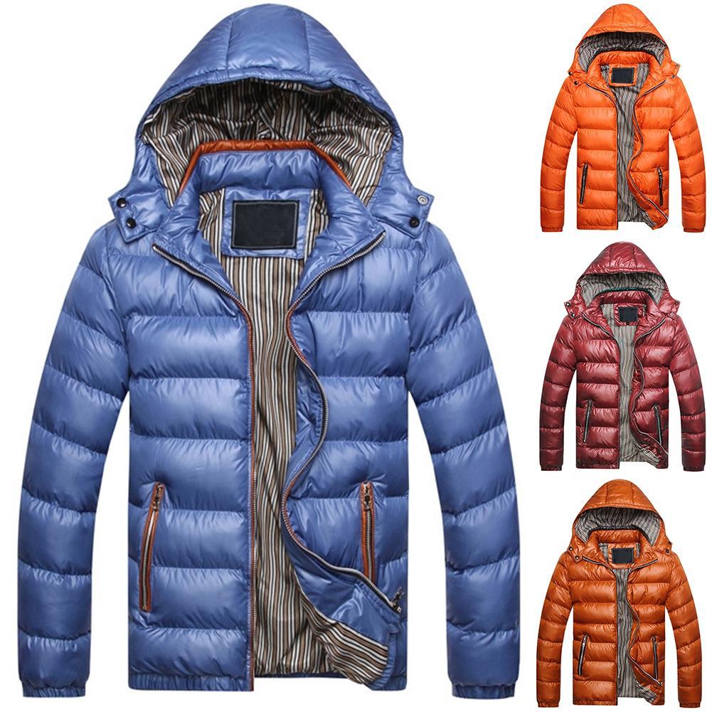 Coat Jacket QUILTED Windbreaker Solid-Color Outwear Hooded Winter Men Zip-Up Long-Sleeve